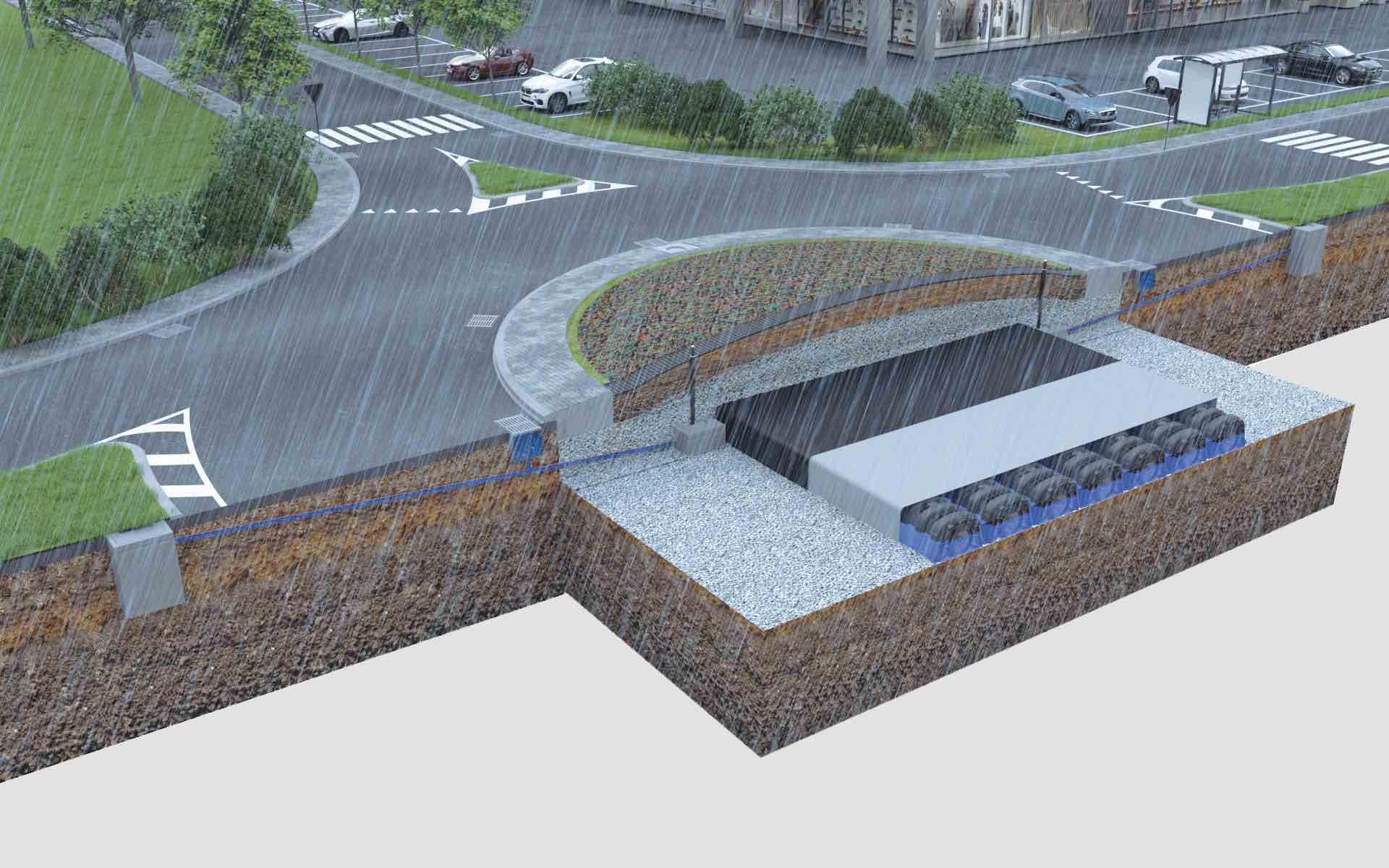 Rotatoria stradale con sistema di raccolta dell'acqua piovana al di sotto dell'area verde