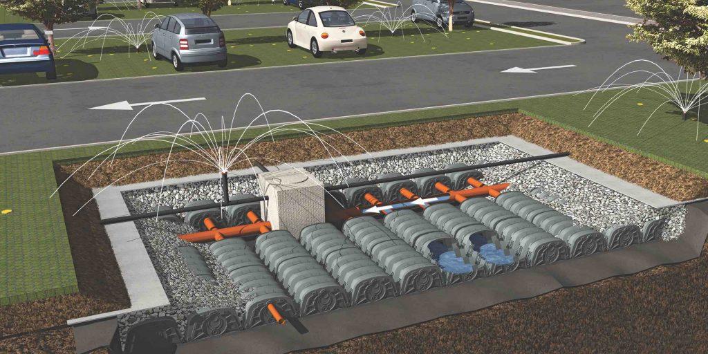 Drening, sistema in polipropilene per il drenaggio e l'accumulo delle acque meteoriche